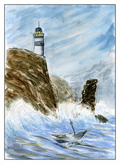 échoué (ybipbip) Tags: aquarelle aquarell akvraell acuarela water watercolor watercolour pintura paint painting marine marin mer mare sea seascape landscape cloud wind lighthouse