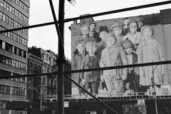 Ellis Island Immigrant Children Mural (Zach K) Tags: ellis island mural unframed ellisisland jr artist publicart photograph make room for condos tribeca frankling sixthavenue sixthave church street art scaffolding new construction covered up blocked massive fujifilm fuji x100f acros york city nyc immigrant children