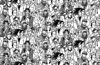 Young people seamless pattern group monochrome (wajadoon) Tags: crowd people group illustrations men teamwork women team backgrounds concepts social event person human togetherness ideas occupation parties friendship spectator standing adult audience meetings community celebrations large females smiling individuality face young cheerful organization fun happiness characters partnership organized gathering unrecognizable hipster fashion seamless pattern wallpaper black white monochrome vector
