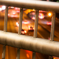 overpass (Mitchell Haindfield) Tags: traffic night freeway cars bridge overlook interstate downtown barricade square glow transportation roads