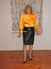 Leather Skirt 8d (Melissa451) Tags: leatherskirt pussybow satinblouse secretary