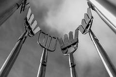 eel gleave's (jonbawden50) Tags: mono bnw bw blackandwhite monochrome sky clouds sculpture sign ely eel gleave history heritige metal stainless steel fuji helios 44m4