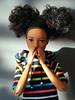 Oops! (Deejay Bafaroy) Tags: barbie skipper babysitters mattel doll puppe stripes streifen striped gestreift black schwarz pink rosa yellow blue blau orange portrait porträt