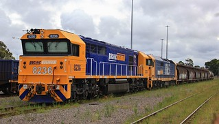 8236 and 8165 sit on the front of sugar and cement wagons in Morandoo