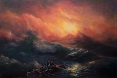 After Aivazovsky, The Ninth Wave (bozhenafuchs) Tags: art fineart painting artist aivazovsky seascapepainting marine seascape ocean sea storm russian fisherman traditional sunset studio etsy handpainted artwork create