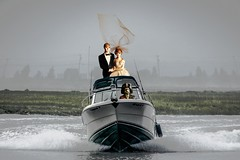 Bride & Groom are Rescued (Rusty Russ) Tags: pirate bride groom rescue fast boat waves good bad colorful day digital window flickr country bright happy colour eos scenic america world sunset beach water sky red nature blue white tree green art light sun cloud park landscape summer city yellow people old new photoshop google bing yahoo stumbleupon getty national geographic creative composite manipulation hue pinterest blog twitter comons wiki pixel artistic topaz filter on1 sunshine image reddit