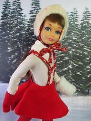 1. Skating (Foxy Belle) Tags: doll skipper vintage barbie skating skate ice winter scene pond outside snow trees printed diorama 16 scale matter straight leg brunette eye lashes fun 1964 1966