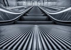 When you arrive early... (katrin glaesmann) Tags: hannover niedersachsen lowersaxony laatzen messegelände rolltreppe escalator blackandwhite monochrome bw