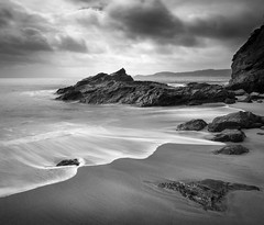Beach Contrasts, Carlyon Bay (Mick Blakey) Tags: swell shoreline slowexposure tidal cornish cliffs receding moody sea coastpath shadows clouds coastline tide monochrome cornwall coastsurf coastal contrast surf seascape cove coast blackwhite dramatic