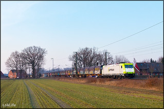 Captrain 185 598 + Slps vuilwagens, Salzbergen (D)