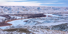 1712_1603 Dusk Along the Red Deer (wild prairie man) Tags: landscape panorama pano winter cold verycold frozen subzero snow snowy river badlands wild prairie valley reddeerriver dorothy alberta canada copyrighted jamesrpage dusk beauty nature beautiful wow ice icy winding hills explored