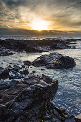 Rocky Beach (daedmike) Tags: scotland johnshaven beach sea waves geology grampian sunrise morning wet clouds