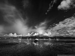 Beaumaris Boats (Richard Walker Photography) Tags: coast boats cirrus landscape snowdonia nature wales blackwhite clouds sailing mountains sea anglesey yachts