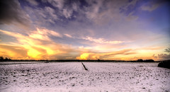 Wide White World. (Alex-de-Haas) Tags: 11mm aurorahdr d750 dutch hdr holland irix nederland nederlands netherlands nikon noordholland photomatix westfrisia westfriesland art artistic artistiek beautiful betoverend bevroren boerenland cloud clouds cold daglicht daylight desolate farmland fire flat frozen heaven hemel kou kunst landscape landschap licht light lucht mooi plat polder skies sky sneeuw snow sunrise verlaten vuur water winter wolk wolken wonderful zonsopgang