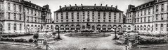 Squares, rectangles and arches (LUMEN SCRIPT) Tags: windows blackwhite symmetry panorama monochrome arches building architecture sky paris france hospital urban geometry history urbanism city design greatangle wideangle composition repetition multiplicity lines patterns historical façade structure ngc heritage publicspace garden park benches