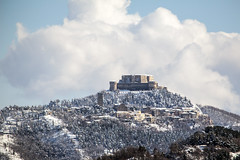 The Fortress in white (raffaella.rinaldi) Tags: fortress castle san leo valmarecchia italy trees winter snow white clouds landscape magic outside hiver paysage sky nature