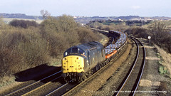 16/02/1990 - Old Denaby, Mexborough, South Yorkshire. (53A Models) Tags: britishrail class37 37100 diesel freight olddenaby mexborough southyorkshire train railway locomotive railroad