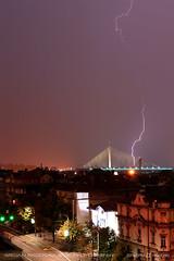 20160822-0427 (srkirad) Tags: night lightning storm stormy mist foggy cloudy belgrade beograd serbia srbija travel bridge adabridge city skyline dark lights street