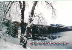 Pennsylvania - Train on Rockville Bridge - TO TRADE (bdsuss) Tags: pennsylvania train railroad bridge postcard