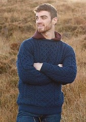 Husband in favorite wool sweater (Mytwist) Tags: gents blue navy wool aran irish sweater ireland carraig donn a825 429 skelliggiftstore donegal husband gift wedding knit love passion fisherman style fashion retro casual chunky aranstyle knitted cabled design pullover knitting modern heavy pattern