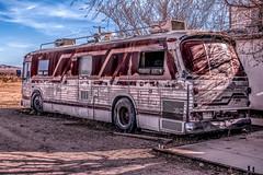 Dilapidated Bus (joe Lach) Tags: dilapidatedbus bus rundown vehicle red silver parkedindirt hivista antelopevalley california joelach