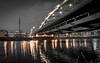 Bridge Over The River (Raphael Images) Tags: bridge river night long exposure black white lights shadows reflection reflections glow lantern lamp nikon d5300