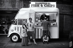 Fish & Chips To Go (Corbicus Maximus) Tags: fish chips monochrome iphone van traditional takeaway bald man food 4 mobile photography