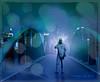 Nightbridge Walker (myphotomailbox) Tags: fantasy man city night bridge brug brücke pont köprü jembatan 橋 most kiô γέφυρα pul bro brêge brögk híd tetezana pire мост blue green turquaze blauw groen