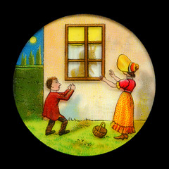 Projektionsbild, Reihe mit dem Teufel im Haus, Bild 1 (altpapiersammler) Tags: alt old vintage laternamagica glas projektion optik unterhaltung licht bild picture dessin szene scene farbig bunt colourful colorful lustig funny comic fenster window