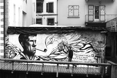 On the rising path (pascalcolin1) Tags: chamonix homme man peinture paint chemin path pipe montagne mountain photoderue streetview urbanarte noiretblanc blackandwhite photopascalcolin 50mm canon50mm canon