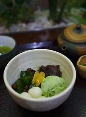 Anmitsu with Matcha Ice Cream (Long Sleeper) Tags: sweets dessert cafe kazuha 一葉 anmitsu matcha icecream matchaicecream shiratama beans fruit orange hachioji tokyo japan dmcgf1