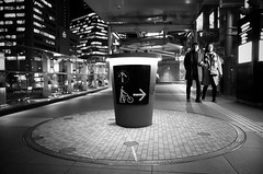 Top or right? [Explored] (明遊快) Tags: night city japan osaka bw street urban japanese candid blackandwhite lights building winter circle sign