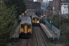 Evening commute: Cathays station, Cardiff (Dai Lygad) Tags: class150 sprinter britishrail flickr cardiff cathays 150229 150282 dieselmultipleunit dmu station platform commuters commuting travelling people passengers trainspassing trains railways railroads publictransit publictransport winter january 2018 photos photographs pictures images photography stock freetouse creativecommons attributionlicense attributionlicence arrivatrainswales valleylines caerdydd wales cymru uk jeremysegrott canon 80d eos camera ccsearch britain dailygad british