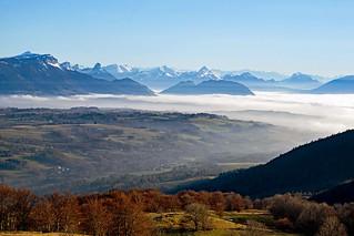 Vue depuis le Mont-Salève - au-dessus du brouillard
