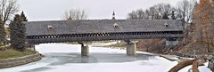 Holz Brücke in Frankenmuth, Michigan (Steve InMichigan) Tags: panasoniclumixdmcgf3 fotasyfdm43lensadapter coveredbridge river cassriver frankenmuthmichigan winterscene frozenriver ice canonfd50mmf18