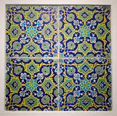 Iznik tile panels - Turkey, early 17th Century (Monceau) Tags: iznik turkey 17thcentury blue yellow green turquoise flowers symmetrical decorative tile panels caloustegulbenkianmuseum