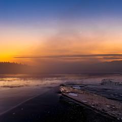 Golden sunset (strupert) Tags: sunset moon cold mist fog winter ice wideangle norway trondheim trøndelag