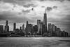 Lower Manhattan Skyline (Katrina Wright) Tags: dsc5910 newyork nyc manhattan lowermanhattan oneworldtradecenter skyline city hudsonriver monochrome bw