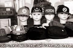 Boy Psycho (Tom Levold (www.levold.de/photosphere)) Tags: fuji fujixpro2 isfahan xf18135mm esfahan sw bw caps still stillleben köpfe dolls kappen puppen heads