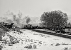 East Ely, Nevada (rolfstumpf) Tags: usa nevada ely alco rs3 nevadanorthern trains freighttrain winter snow crossing road railway railroad museum smoke diesel locomotive