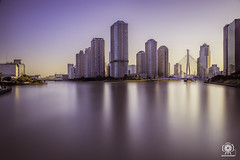 Long exposure (daccha) Tags: tokyo japan sky skyline landscape city cityscape water sunset architecture sony 日本 東京