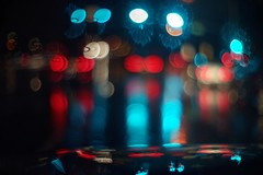 Waiting for green light (PeterThoeny) Tags: sunnyvale california siliconvalley sanfranciscobay sanfranciscobayarea night rain wet car windshield street light red cyan blue blur depthoffield shallowdepthoffield dof bokeh sony sonya7 a7 a7ii a7mii alpha7mii ilce7m2 fullframe vintagelens dreamlens canon50mmf095 f095 canon 1xp raw photomatix hdr qualityhdr qualityhdrphotography abstract minimalistphotography minimalism fav200