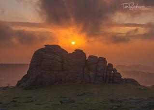 Hazy sunrise at Haytor Rocks, Dartmoor