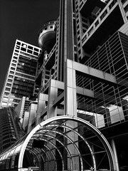 Fuji TV Building, Odaiba, Tokyo (gt223) Tags: urban city blackandwhite bw metal modernarchitecture modern architecture tokyo odaiba fujitvbuilding fujitv