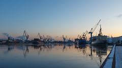 Pre eclipse serenity (Suicidal_zombie) Tags: river neva water winter serenity calm dawn sunset sky skyscape waterscape icebreaker shipyard ship crane cranes port terminal frost saintpetersburg stpetersburg russia russie russland beautiful cityscape city industrial industry embankment