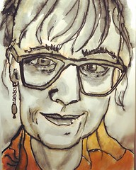 Self Portrait (Explored 4 Feb 2018....Thank you !  ) (opal c) Tags: ink bamboopen indexcard face selfie