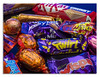 Christmas Leftovers (2017) Blue. (johnhjic) Tags: johnhjic 120mm candy sweet sweets chocolate black blue red colour colours color studio flash macro reflection reflactions