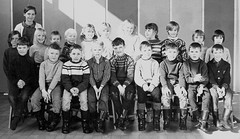 Class Photo (theirhistory) Tags: children kids boys school class form trousers shirt jumper wellies teacher rubberboots jacket