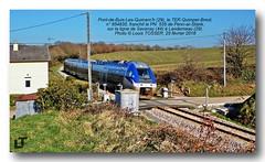Chemin de fer en Bretagne, Finistère (Louis Tosser) Tags: france bretagne brittany finistère pontdebuislesquimerch train chemindefer railways ter sncf autorail passageàniveau
