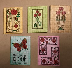 Paperweaved ATC's for a swap (CraftyBev) Tags: glitter stamping paperweaving atc's